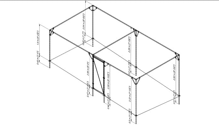 Fruit Cage Steel Sloped 3 CAD Drawing 3