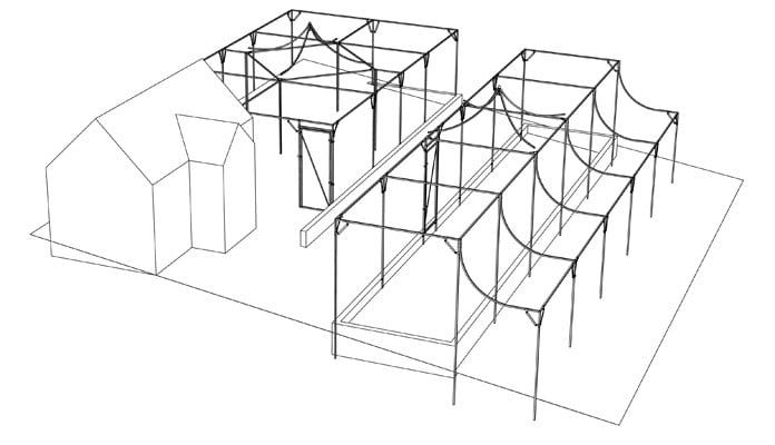 Fruit Cage with Peaks on Sloping Site Design