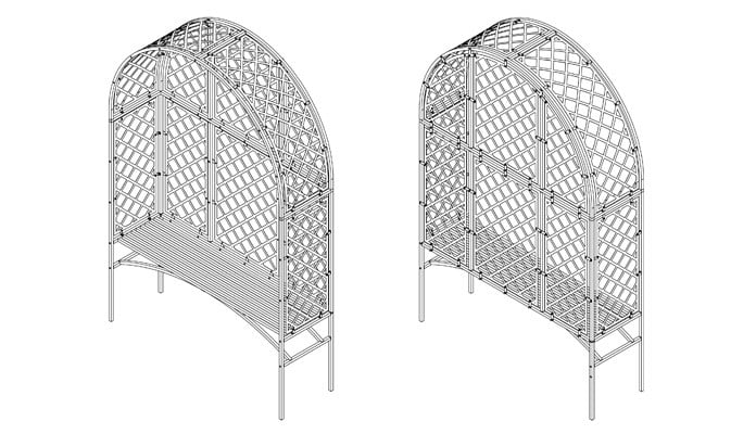 Roman Fully Latticed Arbour and Bench Design