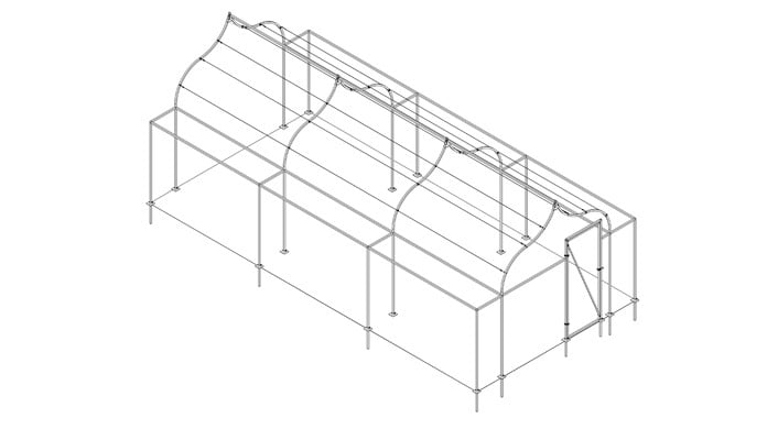 Extended Ogee Arch Fruit Cage Design