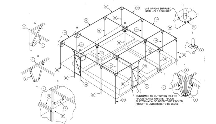 Fruit Cage Steel Sloped CAD Drawing 2