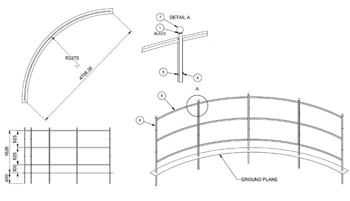 Growing Frames for Wind Protection CAD Drawing 1