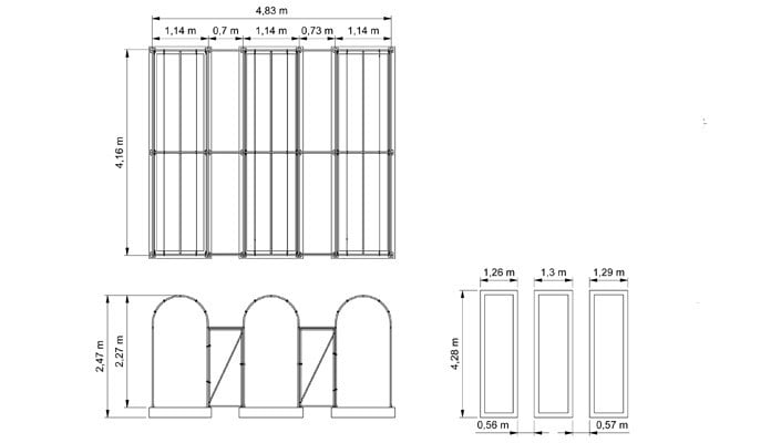 Roman Arch Fruit Cage - CAD Drawing 1