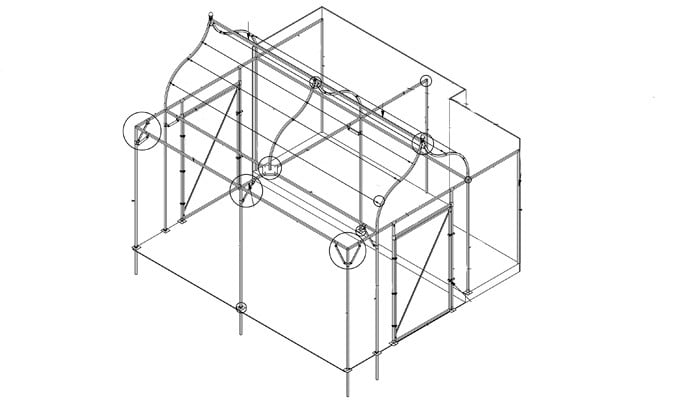 Ogee Arch Cage Wall Fixed for Cats CAD Drawing
