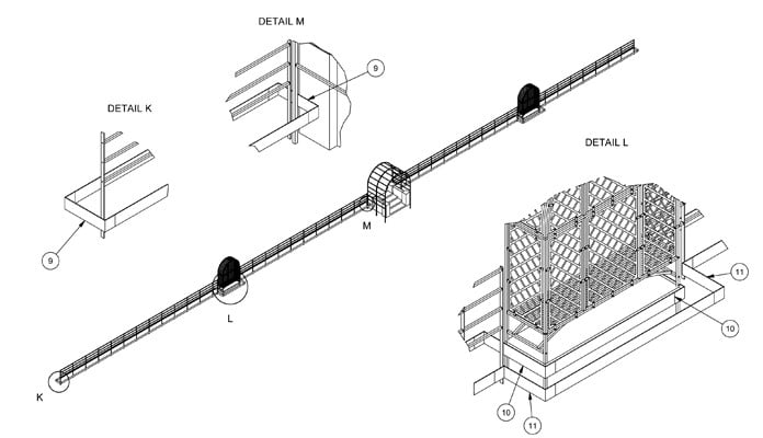 Rosewalk Roman Pergola and Arbour Fitted Bench CAD Drawing 3