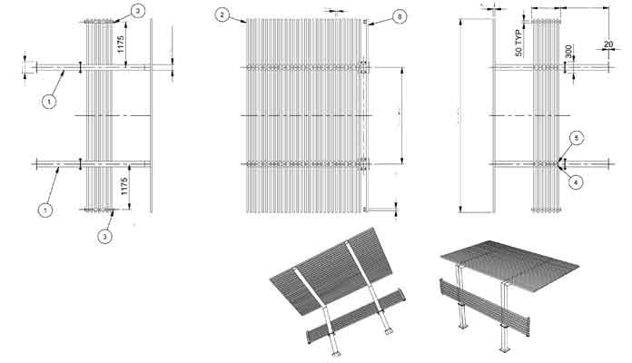 Cantilever Pergola for Outdoor CAD