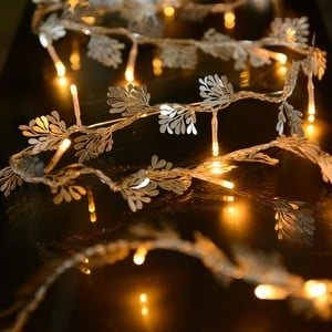 30 LED lights with Mistletoe decorations on silver wire