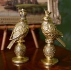 Antique Gold Resin Birds with Crowns by Gisela Graham