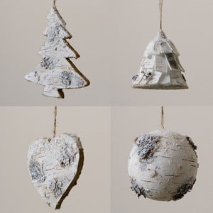 Made From Birch And Hand Decorated White With A Wintery Wonderland Feel, These Delightful Christmas Tree Decorations Are Available In 4 Styles Heart,