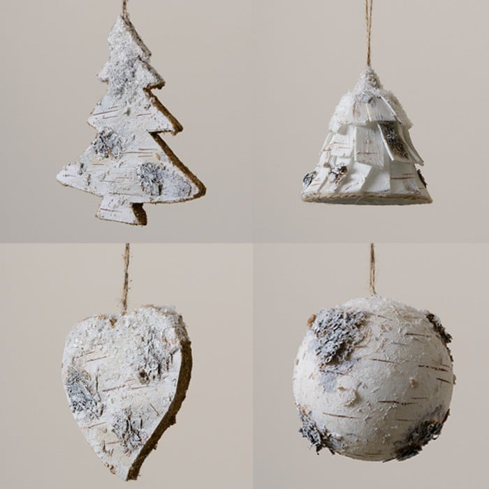 hanging birch christmas decorations by sia - Birch Christmas Decorations