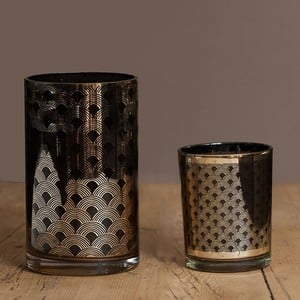 Image of Black And Gold Glass Candle Holders By Sia