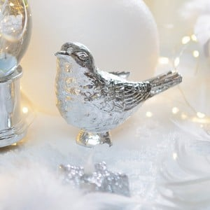 This Delightful Bird Decoration Is Made From Polyresin With A Shiny Silver Finish And Measures 13cm High. Perfect As A Decorative Christmas Ornament,
