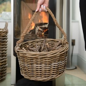 Kindling Basket With Rope Handle Is Perfect Or Gathering And Storing Many Things Not Just Kindling, A Simple Circular Shaped Sturdy Basket Crafted In