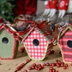 Fabric Bird House Decorations (set of 3) by Gisela Graham