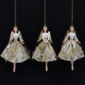 Gold Angel Tree Decorations set Of 3 By Gisela Graham