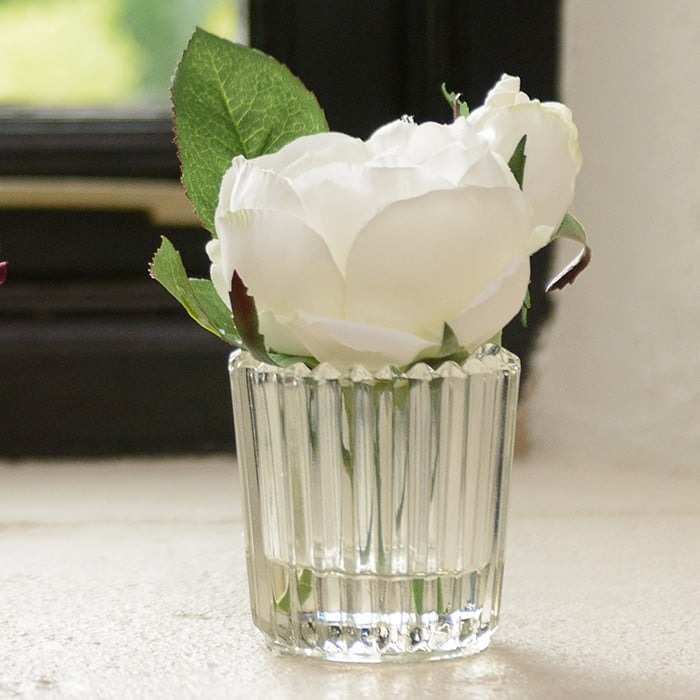 White Rose Stem In Small Vase By Sia Harrod Horticultural