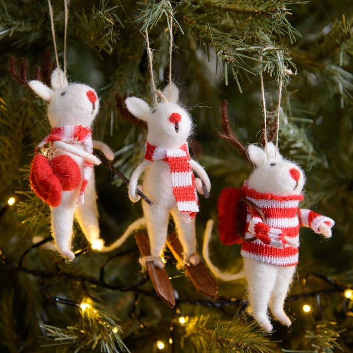 hanging mice decorations set of 3 by gisela graham