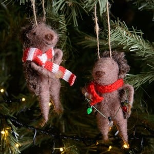 These Cute Eco Wool, Hedgehog Decorations By Gisela Graham Have Adorable Winter Scarves And One Is Holding A Star, The Other Holding Festive Lights Wi