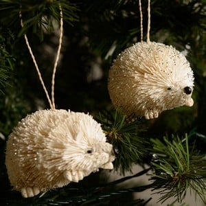 White Bristle Hedgehog Tree Decorations (set Of 2) By Gisela Graham Are Made From All Natural Materials And Will Add Character And Charm To Any Christ