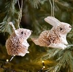 Bristle Rabbit and Mouse Tree Decorations by Gisela Graham