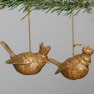Gorgeous Antique Gold Resin Bird Tree Decorations Designed By Gisela Graham Feature Intricate Detail With A Brushed Gold Effect For A Traditional Chri