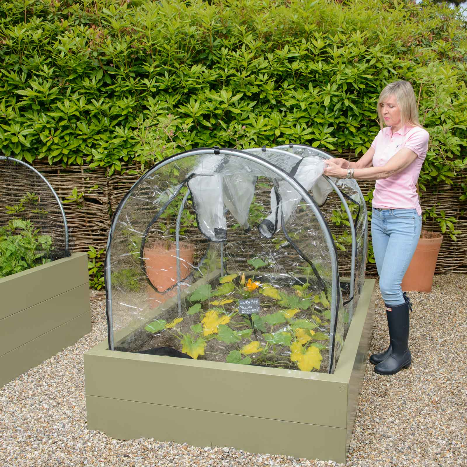 Picture of: Fitted Hoops Mesh Vented Pvc Covers For Metal Raised Beds