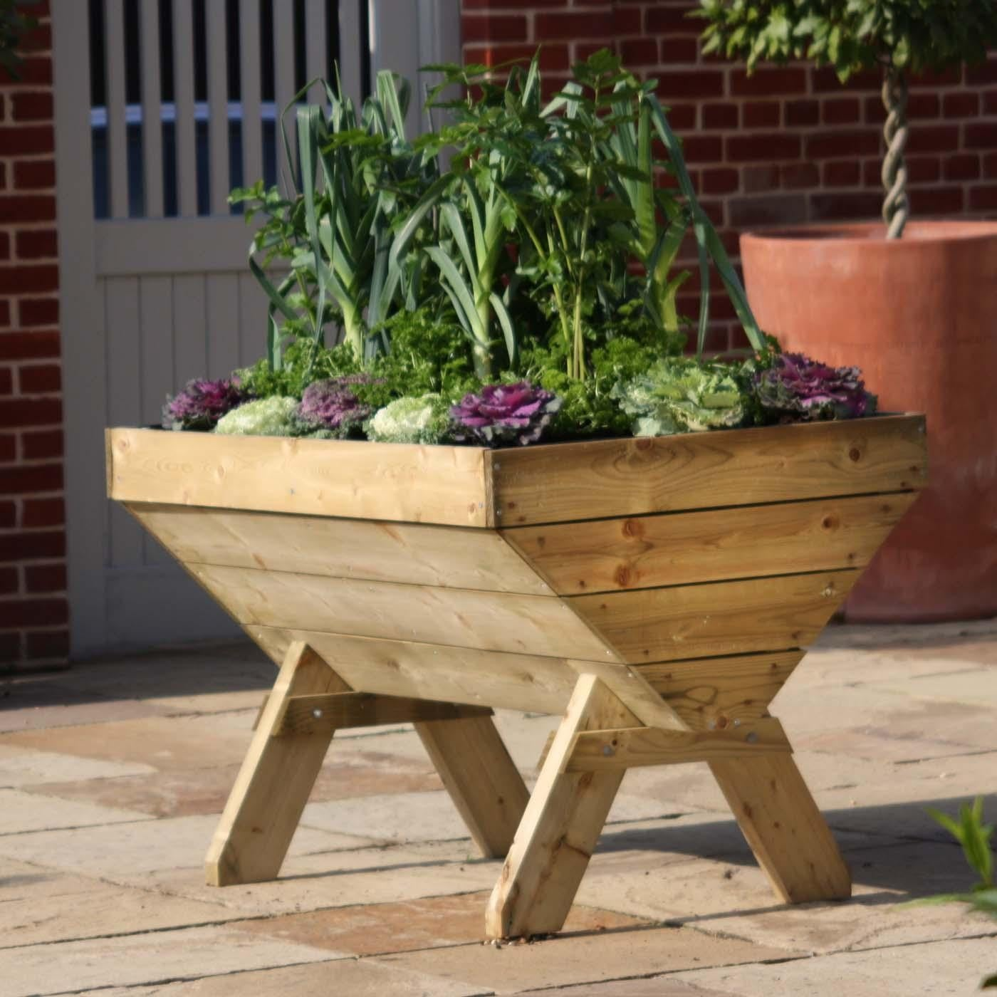 Wooden plant trough raised planters at harrod horticultural for Garden planters