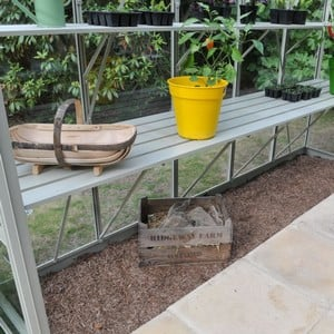 The Strong Aluminium Integral Greenhouse Staging, Designed To Fit Our Superior Greenhouses, Is Powder Coated In Olive Green To Match The Greenhouse An