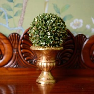 This Pretty Topiary Ball Decoration Has Been Dusted With Gold For A Festive Feel And The Topiary Ball Sits In A Brushed Gold Effect Urn, Perfect To Ad