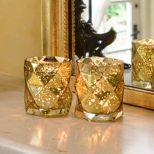 Luxury Glass Tea Light Holders set Of 2 By Sia