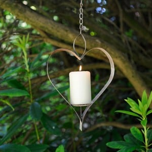 Aged Metal Heart Bird Feeder / Candle Holder