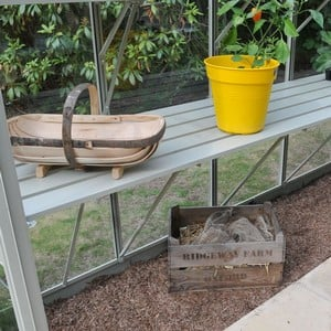 The Strong Aluminium Integral Greenhouse Staging Is Powder Coated In Stylish Antique Ivory To Match The Greenhouse And Is Available In Both Low Level