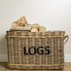 Rectangle Log Basket With Rope Handles