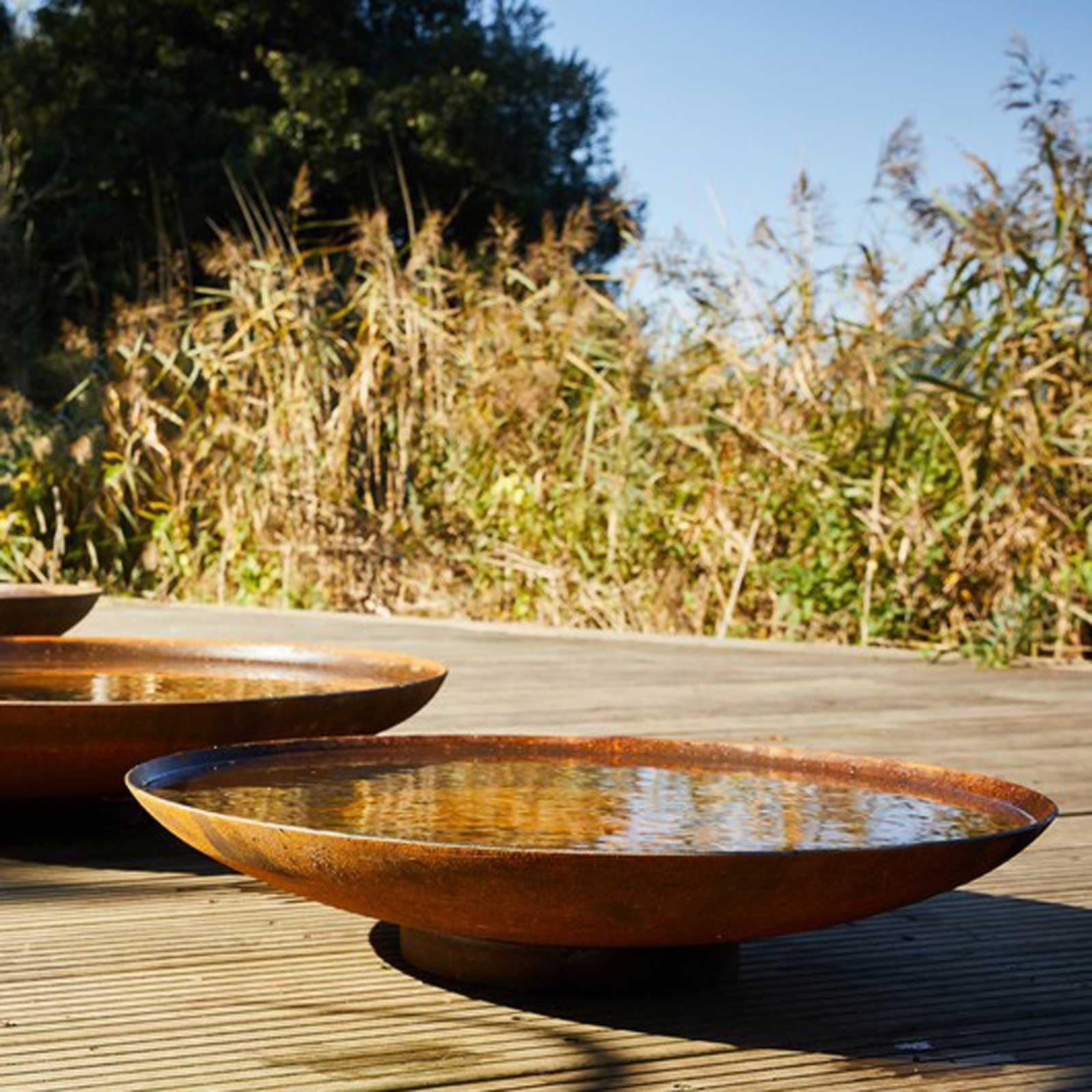 Large Curved Water Bowl Corten Steel