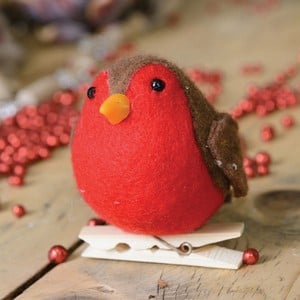 This Adorable Felt Red Robin Decoration Will Be A Popular Addition This Christmas, Fixed To A Traditional Wooden Peg, The Robin Can Be Easily Pegged O