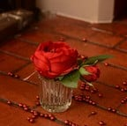 Red Rose Stem in Small Vase by Sia