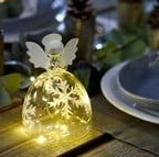 Glass LED Snowflake Angels with Auto Timer (Set of 2)