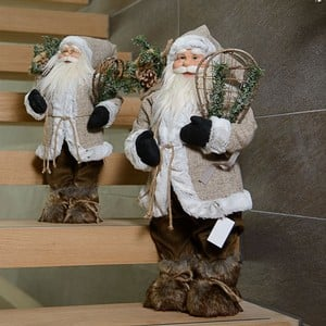 Luxury Standing Santa Decoration With White Fur Trim By Floral Silk