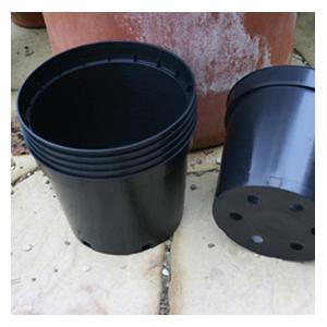 Black Plastic 10 litre Plant Pots (set of 6)