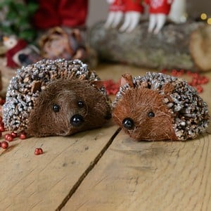 Bristle Hedgehog Decorations (Set of 2) by Gisela Graham