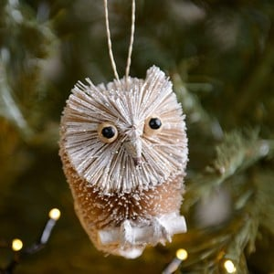 Bristle Silver Owl Decoration by Gisela Graham