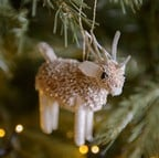 Bristle Silver Reindeer Decoration by Gisela Graham