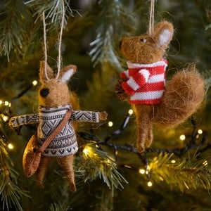 Eco Wool Squirrel Tree Decorations (set of 2)