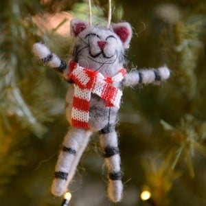 Eco Wool Stripy Cat Tree Decoration by Gisela Graham