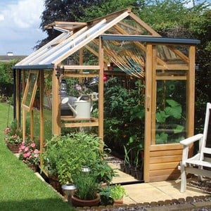 essential 6ft x 8ft cedar greenhouse by gabriel ash harrod horticultural. Black Bedroom Furniture Sets. Home Design Ideas