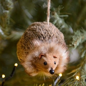 Fur Fabric Hedgehog Hanging Decoration by Gisela Graham