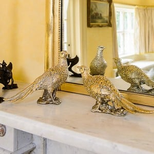 Gold Glitter Pheasant Ornaments (Set of 2) by Gisela Graham