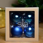 Handmade Blue Glass Baubles by Sia