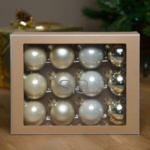 Handmade White, Gold & Silver Glass Baubles by Sia