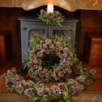 Iced Pine Cone Wreath, Garland & Candle Holder Set